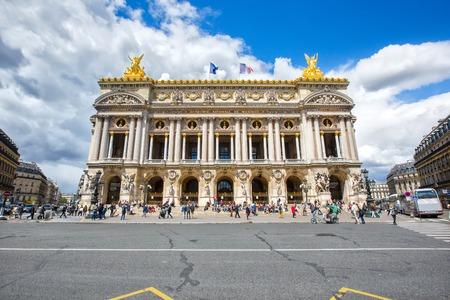 Paris, France , May 20, 2015: The Opera Garnier of Paris, France.  The National Academy of Music, Paris Opera, Royal Academy of Music and Dance. Spring sunny day