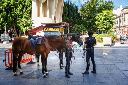 metropol parasol: Sevilla, SPAIN - September 10, 2015 : Mounted police on the streets of Seville near Metropol Parasol.  Women  watching into her phone