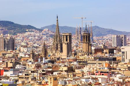 Barcelona, Spain - May 27, 2016: aerial view of Barcelona churches, La Cathedral de la Santa Cruz y Santa Eulalia, residence of the Archbishop  and the main cathedral of Barcelona, and Sagrada Familia