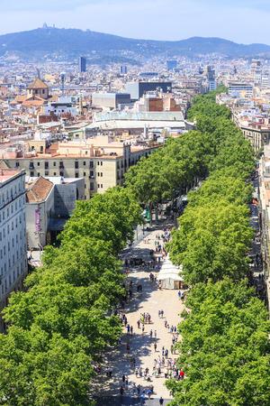 rambla: Barcelona, Spain - May 27, 2016: La Rambla  famous street in the center of Barcelona, birds-eye view Editorial