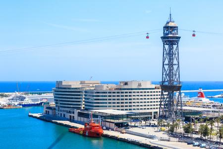 montjuic: Barcelona, Spain - May 27, 2016: station Torre de Jaume 1 on the funicular road Barceloneta - Montjuic, Transbordador Aeri del Port, cruise port, World Trade Center Barcelona