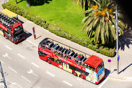Barcelona, Spain - May 27, 2016: Touristic two-tier buses city tour
