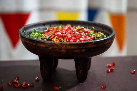 offal: Kuchmachi - traditional Georgian dish of offal with grains of pomegranate