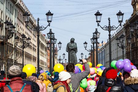 Procession of Funny festival XVI in Petersburg near Nikolaj Gogol monument Editorial