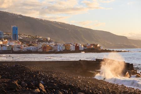 Sunset view of Puerto de la Cruz on Tenerife, Canarian island,Spain Stock Photo