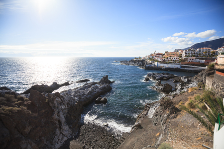 Arial view of Puerto de Santiago sea port and beach, Tenerife, Canary Islands, Spain