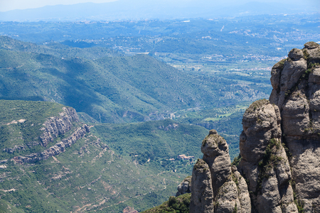 View view of the delightful mountains Montserrat , Catalonia, Spain in a beautiful summer sunny day