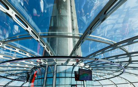 Spire of British Airways i360 observation tower in Brighton, reflections