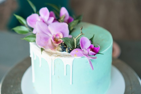 Wedding, festive, birthday biscuit cake decorated with pink orchid and blueberry