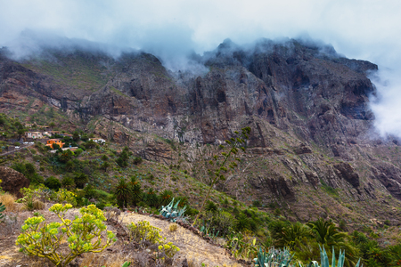 Masca village in mountain gorge the most visited tourist attraction of Tenerife, Spain. 写真素材 - 121182712