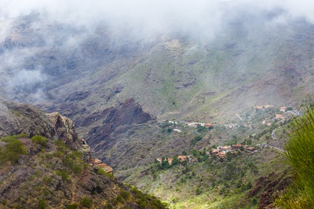 Masca village in mountain gorge the most visited tourist attraction of Tenerife, Spain. 写真素材 - 121182715