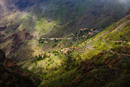 Masca village in mountain gorge the most visited tourist attraction of Tenerife, Spain. 写真素材 - 121182717
