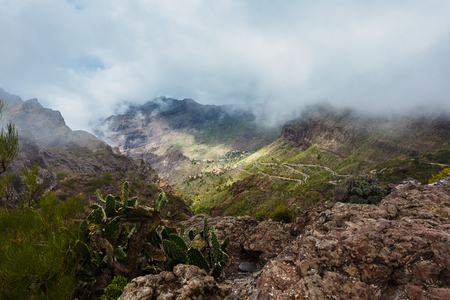 Masca village in mountain gorge the most visited tourist attraction of Tenerife, Spain.