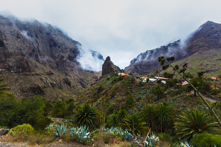 Masca village in mountain gorge the most visited tourist attraction of Tenerife, Spain. 写真素材 - 121182724