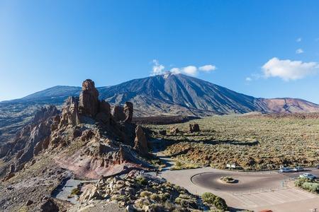 Highway in national park, unique emblematic Teide Volcano of Tenerife 写真素材