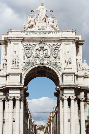 sculpture on the top of Triumphal Arch on Rua Augusht, Lisbon, Portugal