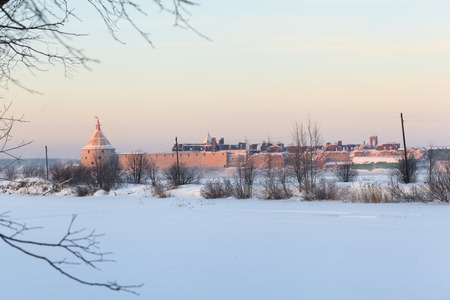 Winter evening view of historical medieval Oreshek fortress in Shlisselburg 写真素材