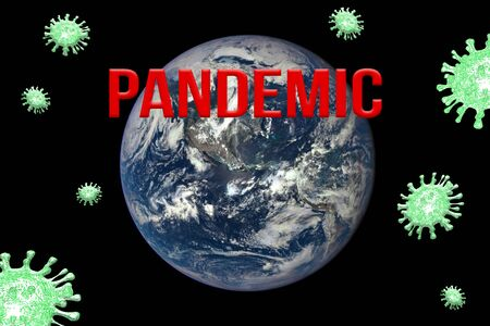 Red word Pandemic on a black background. Globe, green paint of viruses