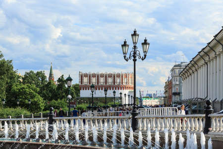 MOSCOW, RUSSIA - June 24, 2017: Manege Square , Okhotny Ryad, Kutafya Bridge tower, Moscow Kremlin , beautiful sky in summer day