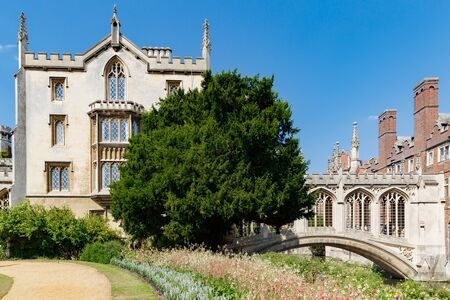 Cambridge, United Kingdom, July 23, 2019: picturesque view of famous covered Bridge of Sighs at St John's College, river Cam, no people 写真素材