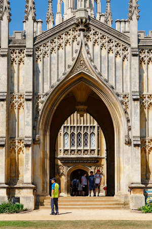 Cambridge, United Kingdom, July 23, 2019: picturesque view of famous covered Bridge of Sighs at St John's College, river Cam, no people 報道画像