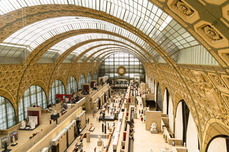 Paris, France - June 06, 2018: Main hall of the d'Orsay Museum in Paris, housed in a former railway station, overall plan