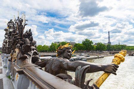 Alexander III bridge in Paris, nymph of Seine, Eiffel Tower