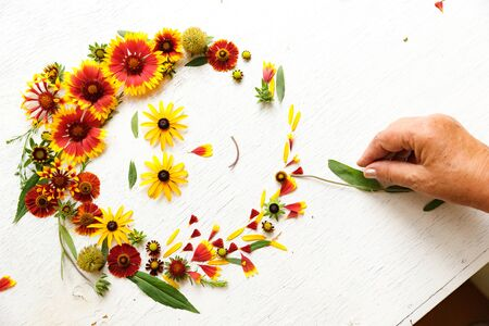 Flower composition on a wooden white background 写真素材