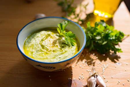 Hummus zucchini squash, top view. Gluten-free and milk-free