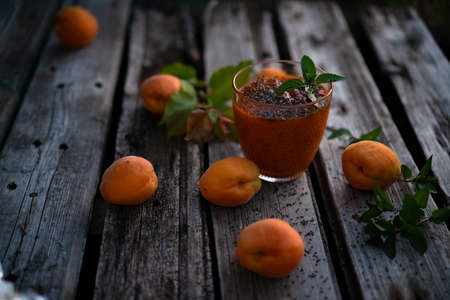 Blended Colorful Apricot Sugar Free Smoothie with Chia Seeds and Mint