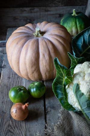 Two pumpkins in nice antique environment Banco de Imagens