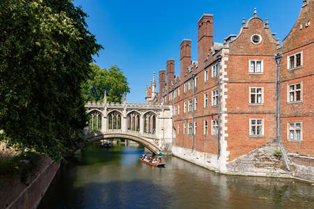picturesque view of famous covered Bridge of Sighs, St Johns College, sunny day