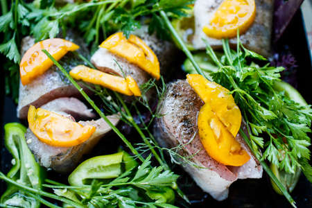 Homemade zander fish with vegetables and herbs Banco de Imagens