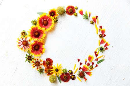 Flower composition on a wooden white background Banco de Imagens