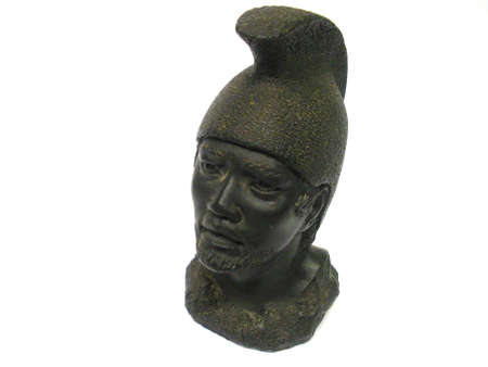 Carved figure of warrior from Hawaii. Stock fotó