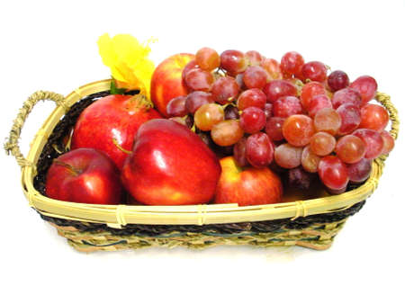 Fruit and grapes basket.