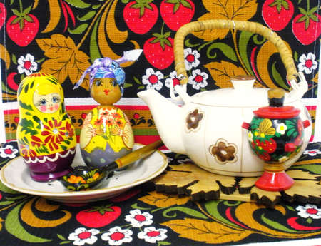Tea in Russian style with nesting dolls. photo