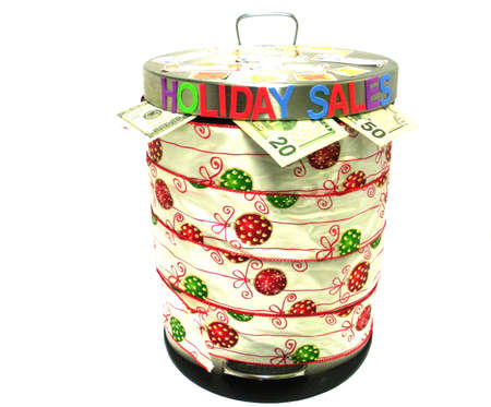 Garbage can and holiday sales.