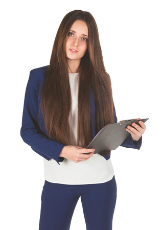 cheerfully: Young gorgeous woman looks cheerfully holding her folder in both hands isolated.