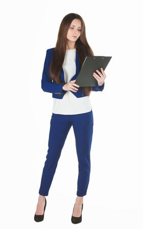 business costume: Young beautiful business woman in blue costume holds a holder.
