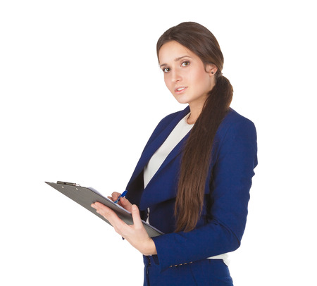 pleasant emotions: young woman lady in blue sees the information in her document which causes pleasant emotions on her face isolated.