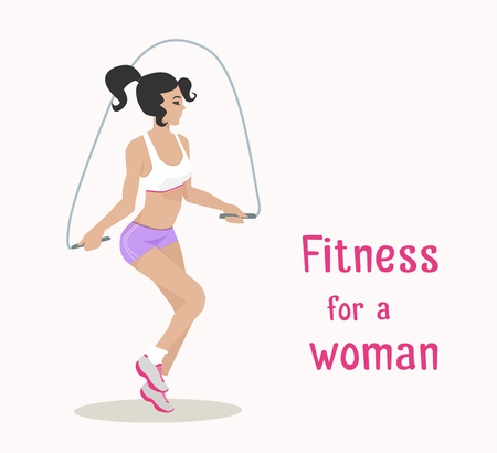 sports girl: Vector girl makes skipping rope exercises . Flat cartoon style Woman does sports workout,cardio training . Fitness, active lifestyle illustration. Print, banner, poster, advertisement design element Illustration