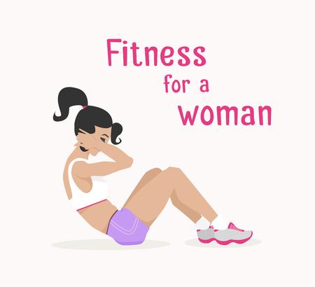 벡터 소녀 복부 crunches 않습니다. 플랫, 만화 스타일 여자는 그녀의 복부 근육을 밖으로 작동하는 윗몸 일으키기를 않습니다. 피트 니스, 활성 라이프