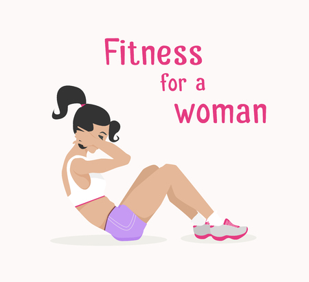 laying abs exercise: Vector girl does abdominal crunches . Flat, cartoon style woman does sit-ups, working out her abdominal muscles. fitness, active lifestyle illustration. Print banner poster design element