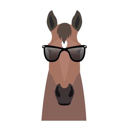 ベクトル フラット馬ヒップスターの頭が分離されました。湾、サングラスの茶色馬顔。漫画スタイルのイラスト。ウェブ、ポスター、バナー、印刷