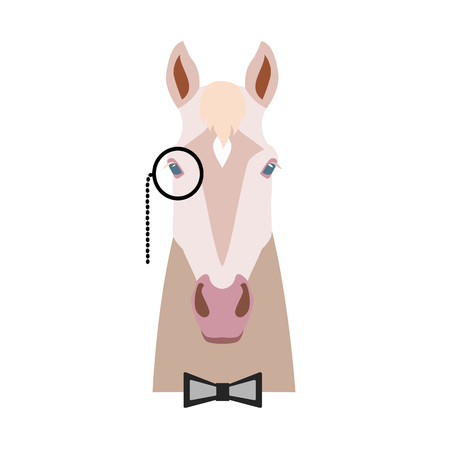 Vector Flat horse hipster head isolated. Isabella color horse face in monocle and bowtie. Cartoon style illustration. Object for web, poster, banner, print design. Advertisement decoration element  イラスト・ベクター素材