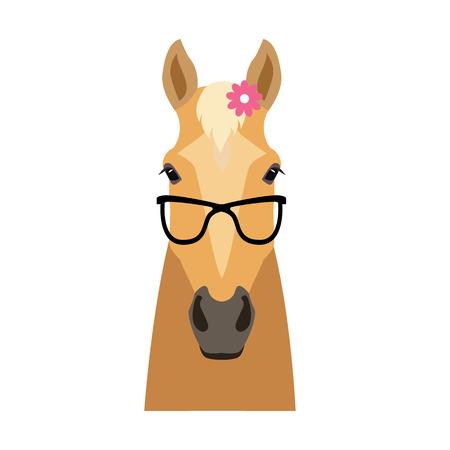 ベクトル フラット馬ヒップスターの頭が分離されました。パロミノ、ベージュ色の花とサングラスで馬の顔の。漫画のイラストは、ポスター ・ バ  イラスト・ベクター素材