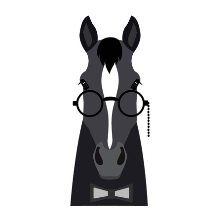 a17330b42253d1  69110041 - Vector Flat horse horse head geïsoleerd. Donkere grijze kleur  paard gezicht in glazen en bowtie. Cartoon stijl illustratie.