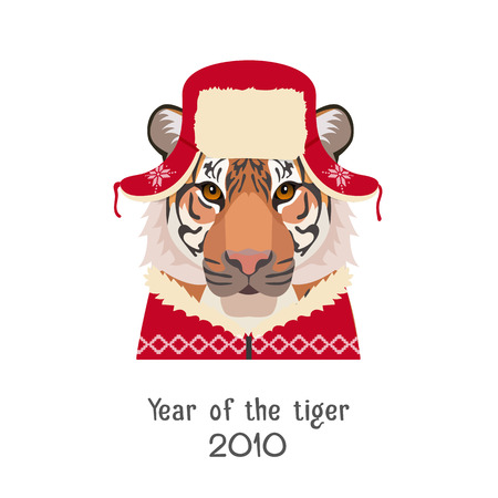 year of the tiger: Vector Tiger head in new year, christmas red ear-flapped hat and pullover isolated.Chinese horoscope, new year symbol. poster, banner, advertising, design element. Flat, cartoon Style object Illustration