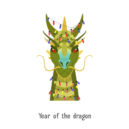 Vector Green dragon head isolated. Animal of Chinese zodiac symbol. flat cartoon dragon image in christmas new year lights, Object for poster, banner, print, advertisement, web design element.